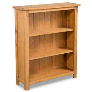 3 Tier Bookcase Solid Oak Wood Book Storage Rack Stand Rustic Style Furniture