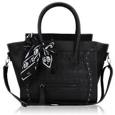 Ladies Designer PU Leather Celebrity Tote Bag Smile Shoulder Handbag