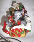 """RAZ Imports 4"""" Cat In Presents Hand Decorated Blown Glass Christmas Ornament"""