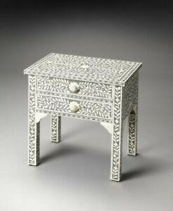 Bone Inlay Bedside Cabinet Lamp Table Black Floral (MADE TO ORDER)
