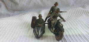 Lineol Militär Motorrad 3 Soldaten WK 2