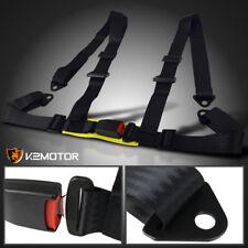 Universal JDM Black Nylon Strap 4 Point Racing Drift Safety Seat Belt Harness