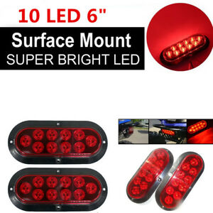 2PCS Red 10 LED 6 inches Oval Stop Turn Tail Light for Trailer Truck Sealed