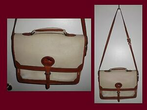 DOONEY & BOURKE Briefcase Pebbled Leather Ivory Brown Flap Over Crossbody Bag