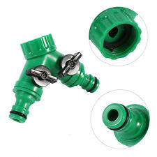 "3/4"" 2 Way Hose Pipe Splitter Double Garden Tap Hose Adapter Connector Adaptor E"