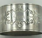 Antique Coin Silver Napkin Ring with pretty pattern  Oval