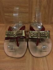 SALE!❤️ Jeffrey Campbell Esme Gold Metal Bow Thong Sandal Burgundy Size 9