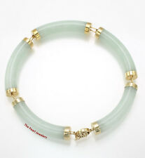 14k Yellow Gold with Oriental Design Clasp 5 Segments Apple Green Jade Bracelet