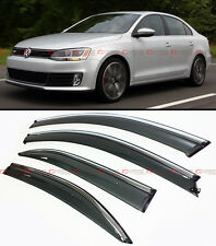 2011-2015 VW MK6 JETTA SEDAN SMOKE WINDOW VISOR DEFLECTOR W/ CHROME TRIM & CLIPS
