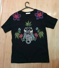 SANDRO Paris. Embroidered Snake Flower Tee Top. Black Size 1 or 8. Paid $220!