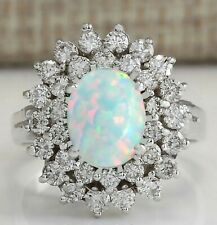 14KT White Gold Natural Ethiopian Opal 1.80Ct EGL Certified Diamond Ring