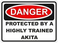 Razza di cane Akita pericolo Adesivo PET PER PARAURTI PER AUTO CAMION Locker