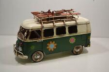 Blech-Auto, VW Bus, grün, Flower Power, mit Ski a. Dach, ca.27 x 17 x 11 cm (26)