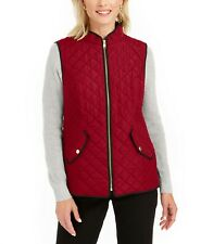 2XL, XL, L Charter Club Women's Quilted Vest Jacket, Black, $69.50 NwT Red