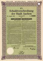 Aachen historische Stadt Gold Anleihe 1929 Nordrhein-Westfalen NRW City bond