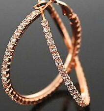ROSE GOLD PLATED RHINESTONE CRYSTAL LARGE HOOP EARRINGS 54MM