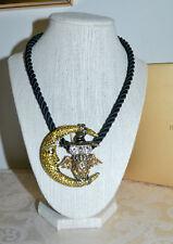 "New $170 HEIDI DAUS ""Moonlighting"" Owl Crystal Pin Pendant Necklace Black Cord"
