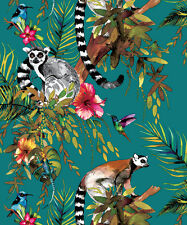 Holden Decor Lemur Teal Multi Wallpaper 12402 Tropical Jungle Hummingbird