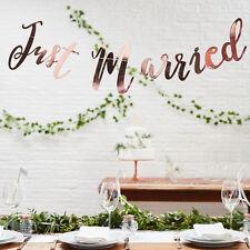 Girlande 'Just Married' Candy Bar Hochzeit Vintage Deko Shabby Metallic roségold