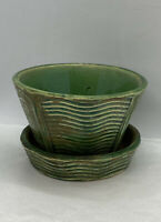 FLOWER POT PLANTER Vintage McCOY ART pottery gloss GREEN WAVE pattern AS IS