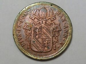 Papal States, Rome, Vatican City: 1850-R ½ Baiocco. Pope Pius IX. KM-1355.  #32