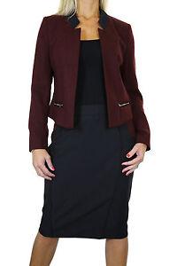 NEW (6352) Open Bolero Tweed Jacket Skirt Suit Burgundy Black Size 8