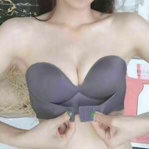Invisible Push Up Bra Front Buckle Women Underwear Lingerie Strapless Seamless