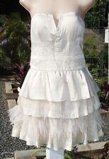 NWT Bebe Beige Rowen Strapless Feather Dress M NEW