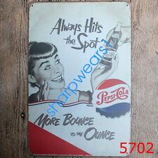 Metal Tin Sign always hits the spot pepsi Pub Bar Vintage Retro Poster Cafe ART