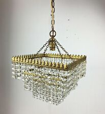 Vintage Brass/Cut Crystal Square 4 Tier Chandelier Ceiling Pendant Lamp Light