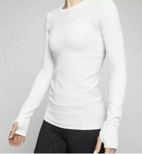 ATHLETA Flurry White Base Layer Ribbed Long Sleeve Activewear Top Sz Large