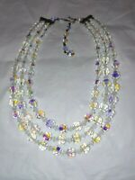 Jewelry Necklace Three Strand Aurora Borealis Crystal Glass Bead  Vintage style