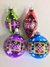 Lot of 4 Christopher Radko Celebrations Christmas Ornaments Geometric Patterns