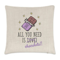 All You Need Is Love Chocolate Linen Cushion Cover - Pillow Funny