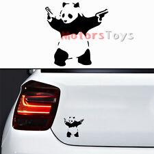 x1 Black JDM Panda With Double Guns Racing HF Vinyl Motorcycle Car Sticker Decal