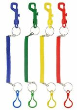 1 6 12 Pc Retractable Spiral Keyring Chain With Clip On Hook Stretchy Elastic