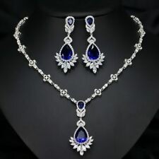 "Estate Vintage Rear Blue Sapphire Jewelry Necklace Set 18""In 14K White Gold Over"