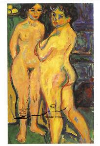 Kunstpostkarte - Ernst Ludwig Kirchner: Stehende nackte Mädchen am Ofen