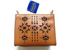 New Pendleton Lasercut Tan Brown Leather Small Cosmetic Toiletry Bag Clutch