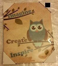 """1 RARE app. 14"""" x 11"""" KITCHEN WALL PICTURE, OWL on laminated canvas"""