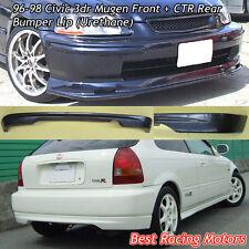 Mu-gen Style Front + CTR Rear Bumper Lip (Urethane) Fit 96-98 Honda Civic 3dr