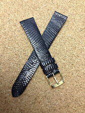 17mm 11/16R  BLACK STRAP  GENUINE LIZARD FRANCE VINTAGE WATCH BAND new old stock