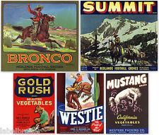 5 FRUIT BOX CRATE LABELS VINTAGE LOT GENUINE COWBOYS WESTERN HORSES 1940 1950S