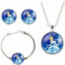 Princess Cinderella Glass Domed Pendant Necklace Earring & Bracelet Jewelry Set