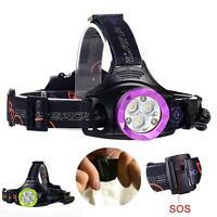 60000LM T6 6X LED Headlight Flashlight Torch USB Rechargeable Headlamp GA