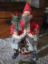 New~Bethany Lowe German Style Santa On Drum, Feather Sprig Tree,Basket & Wreath