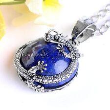 1Pc Lapis Lazuli Dragon Gemstone Round Ball Bead Bail Pendant Fit Necklace Charm