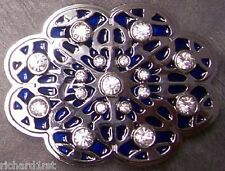 Pewter Belt Buckle Bejewelled Geometric blue NEW