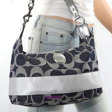 NWT Coach Signature Stripe Denim Shoulder Bag Hand Bag Hobo F17434 Blue RARE