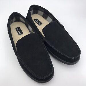 526 Clarks Men's Suede Venetian Moccasin Indoor/ Outdoor House Shoe, Black US 11